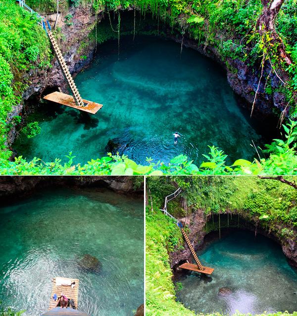 Fantástica piscina natural no meio do Pacífico!